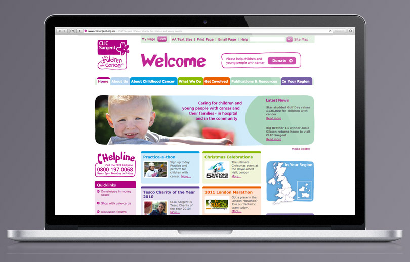 CLIC Sargent homepage re-skin