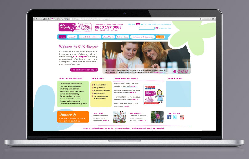 CLIC Sargent homepage redesign