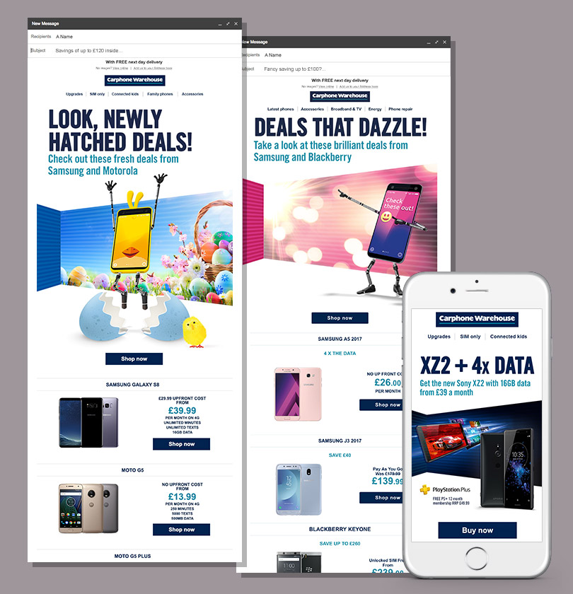 Carphone Warehouse email designs