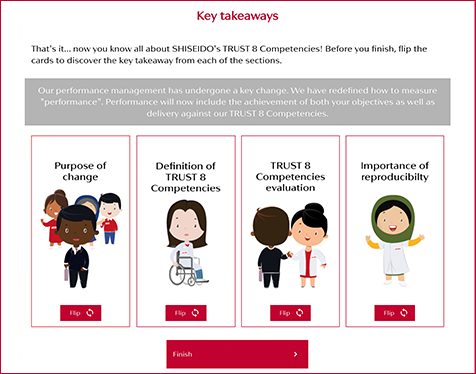 Shiseido E-learning key takeaways screen