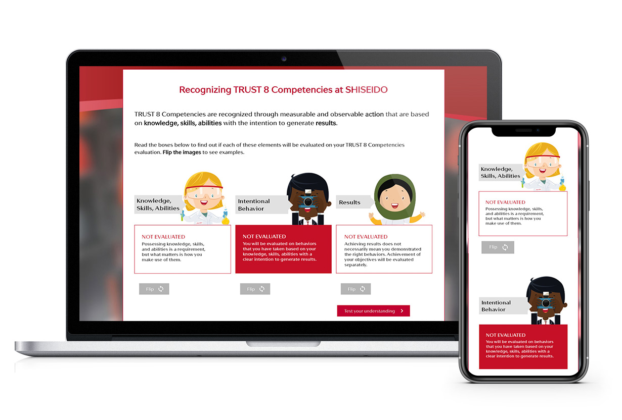 Shiseido E-learning platform screens