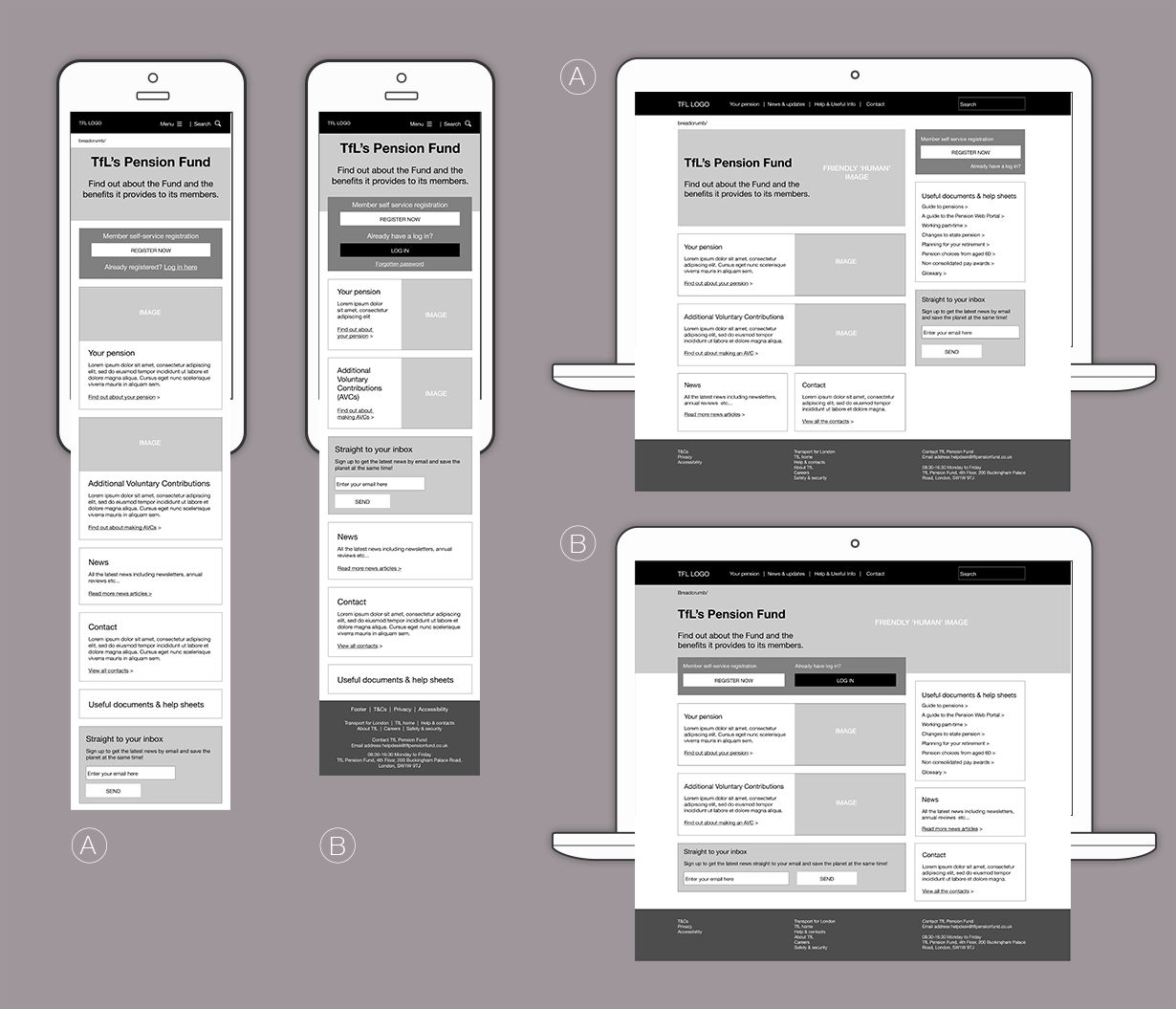 TfL pensions UI wireframes