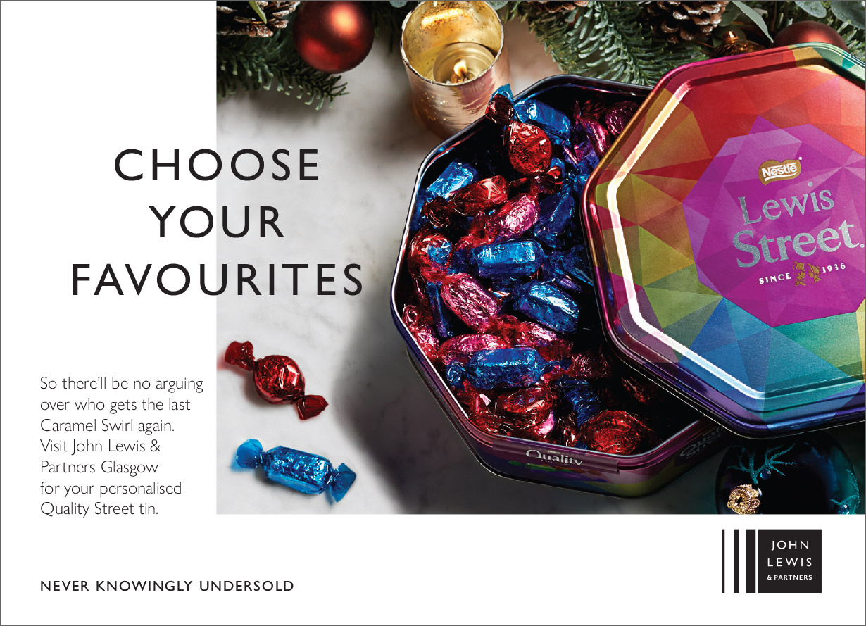 John Lewis Quality Street store popup print ad